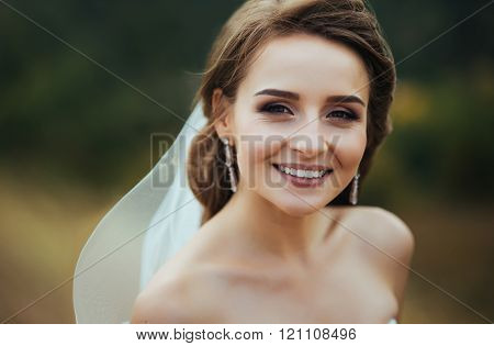 Bride portrait on nature