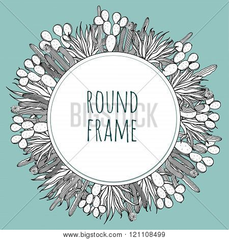 Round succulent cactus outline black and white frame