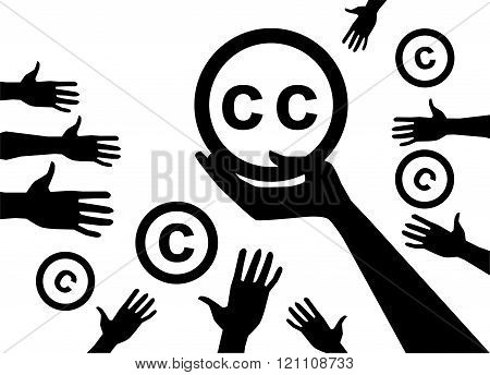 Concep. Hand holding a symbol of  licenses Creative commons