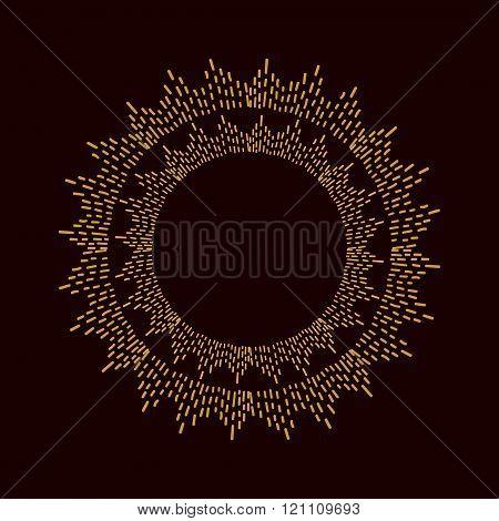 Round sparkle golden frame.