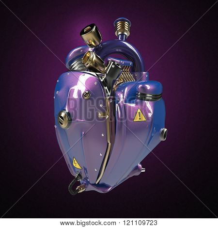 Diesel punk robot techno heart. engine with pipes, radiators and glossy purple metallic car paint me