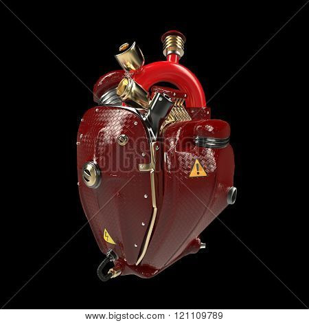 Diesel punk robot techno heart. engine with pipes, radiators and glossy red carbon hood parts.  isol