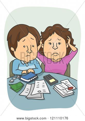 Illustration of a Couple Encountering Financial Problem
