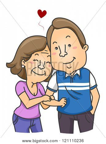 Illustration of a Young Man with an Older Woman