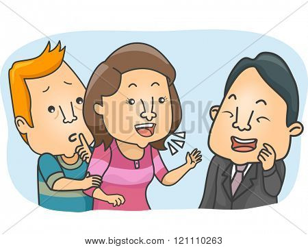 Illustration of a Man Stopping His Wife from Compulsive Talking