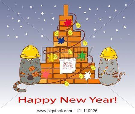New Year card template. Congratulations for a construction company.