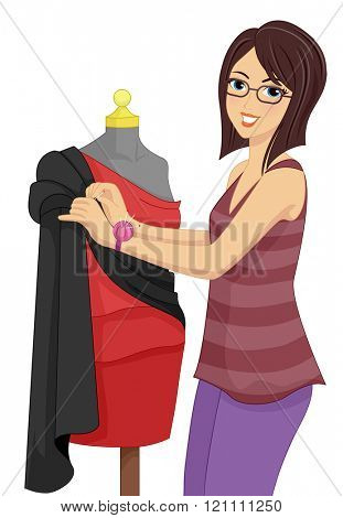 Illustration of a Fashion Designer Draping a Mannequin with a Stretch of Cloth
