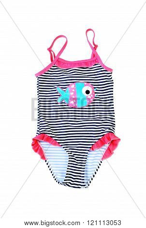 Striped Kids Swimsuit. Isolated On White.