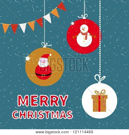 Merry Christmas background, vector illustration of New Year balls