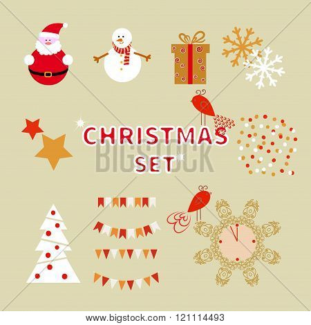Christmas set of holiday characters and decorative elements