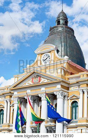 Bolivian Palace Of Government (palacio Quemado) In La Paz, Bolivia