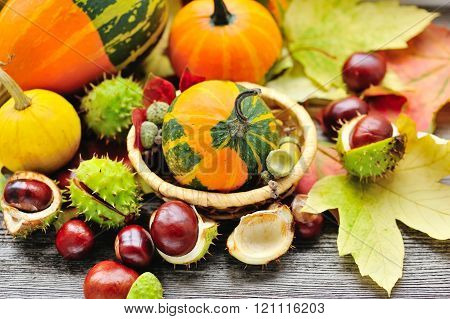 Fresh Chestnuts With Autumn Leaves And Mini Pumpkins On Wooden Background