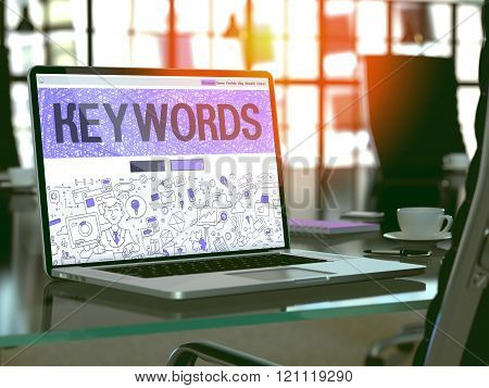 Keywords - Concept on Laptop Screen.