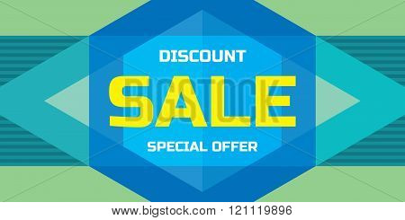 Sale - Discount - concept vector banner - special offer. Sale vector banner in geometricstyle.