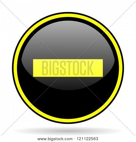 minus black and yellow modern glossy web icon
