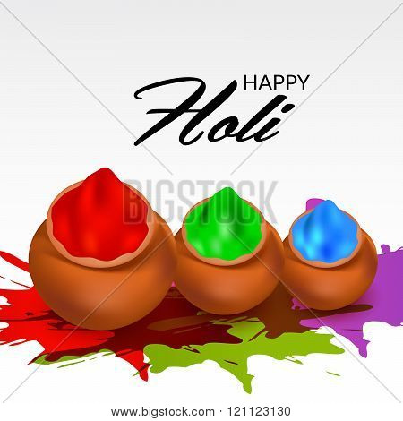 illustration of colorful gulal colors powder filled with mud pot for indian festival Happy Holi.