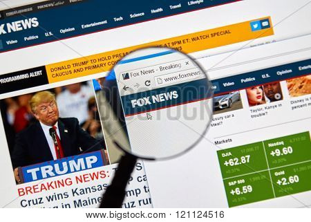 MONTREAL CANADA - MARCH 5 2016 - Fox News web page under magnifying glass. Fox News is an American basic cable and satellite news television channel