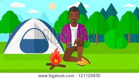 Man kindling fire.
