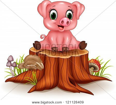 Cartoon adorable baby pig sitting on tree stump