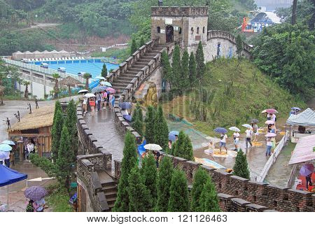 miniature of the great chinese wall in park, Chongqing