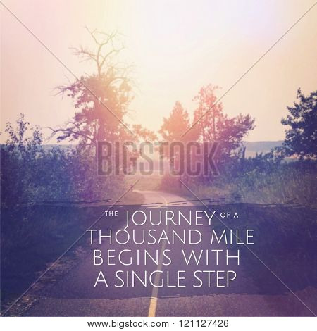 Inspirational Typographic Quote - Journey to a thousand mile begins with begins with a single step