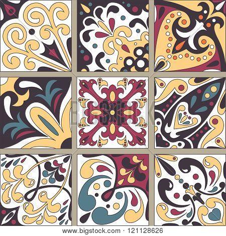 Set With Beautiful Seamless Ornamental Tile.