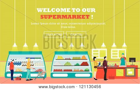 Supermarket interior vector illustration flat style. Customers buy products in food store. Groceries