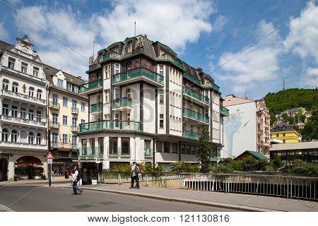 KARLOVY VARY, CZECH REPUBLIC - MAY 15: street view in Karlovy Vary, hotels in Karlovy Vary, Carls