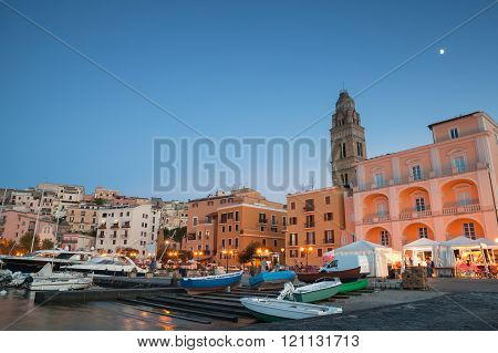 Port With Moored Boats And Pleasure Yachts
