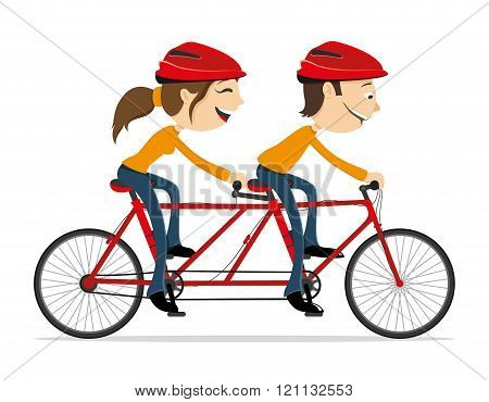 Couple riding a bike