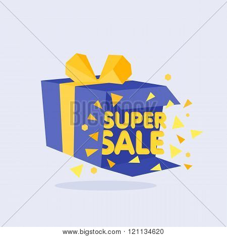 Open Blue Gift Box and Confetti. Sale Background.