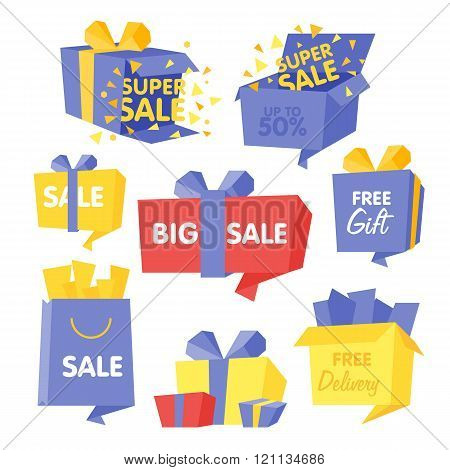 Price and Sale box set of vector Illustrations