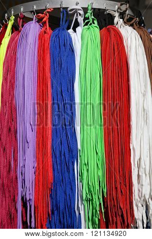 Many colorful shoestrings