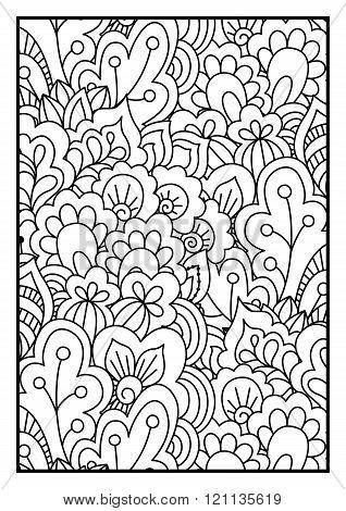 Black and white pattern. Ethnic henna background.