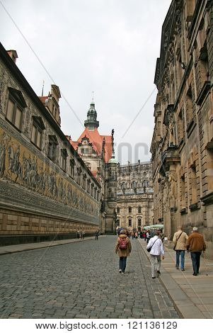 Dresden, Germany - April 27, 2010: Furstenzug (procession Of Princes, 1871-1876, 102 Meter, 93 Peopl