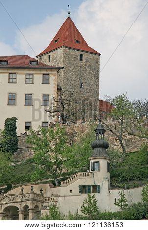 Prague, Czech Republic - April 28, 2010: Black Tower Of The Prague Castle