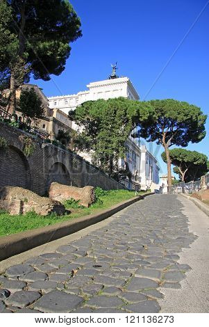 Rome, Italy - December 21, 2012: Road To Monumento Nazionale A Vittorio Emanuele Ii In Rome, Italy