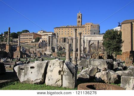 Rome, Italy - December 21, 2012: Ruins Of The Roman Forum, Rome, Italy