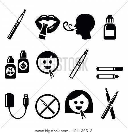Electronic cigarette, e-cigarette and accessories icons