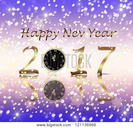 Greeting Card Happy New Year 2017 with clock