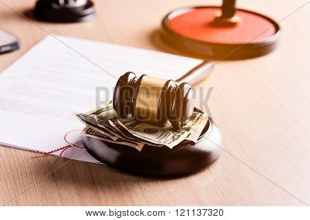 Money Under The Judge's Gavel