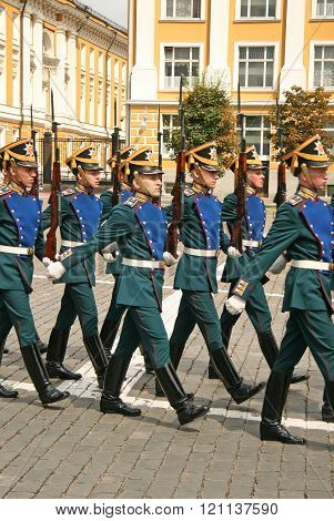 Moscow, Russia - July 25, 2009: Kremlin Presidential Regiment, Ceremony Of Changing Of The Guard