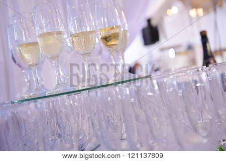 Glasses Of Champagne Placed On A Mirror