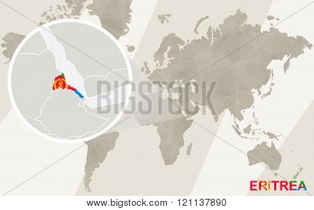 Zoom On Eritrea Map And Flag. World Map.
