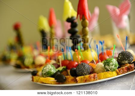 Different Type Of Prepared Food In A Plate On A Table