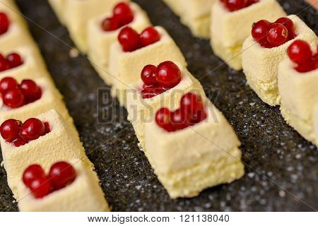 Vanilla Cake With Red Fruits On Top