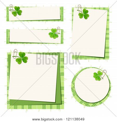 St. Patrick's day cards with shamrock and tartan. Vector eps-10.