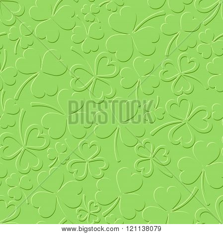 St. Patrick's day green seamless pattern with shamrock. Vector illustration.