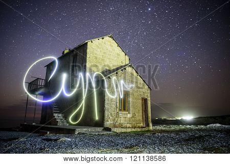 Nightscape with light paintnig Cypr