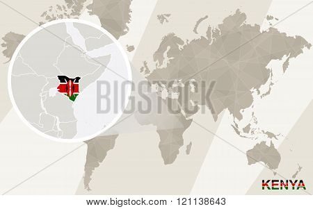 Zoom On Kenya Map And Flag. World Map.